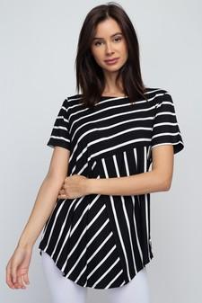 d71471eeea1 Women's Short Sleeve Striped Tunic Top